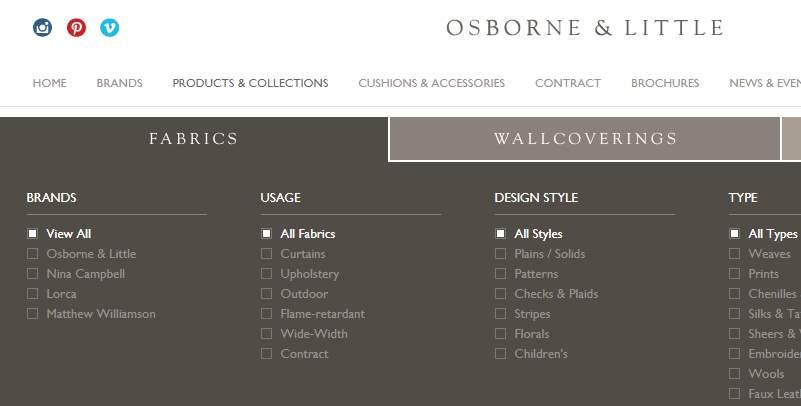 Homepage Dekostoffe von Osborne&Little