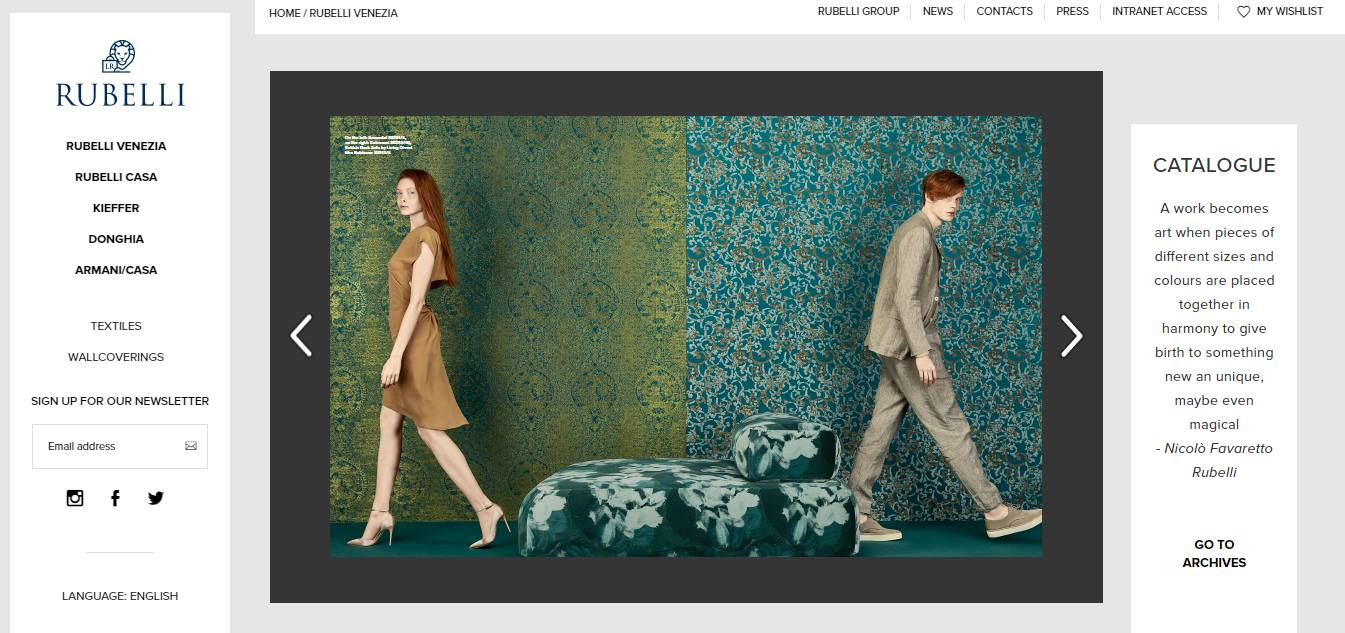 Homepage Dekostoffe von Rubelli Venezia