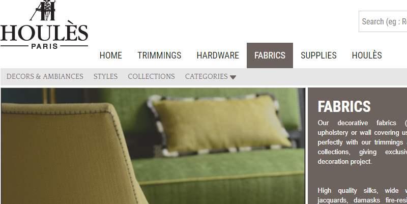 Homepage Dekostoffe Houles Paris