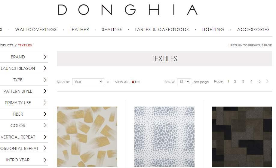 Homepage Dekostoffe von Donghia