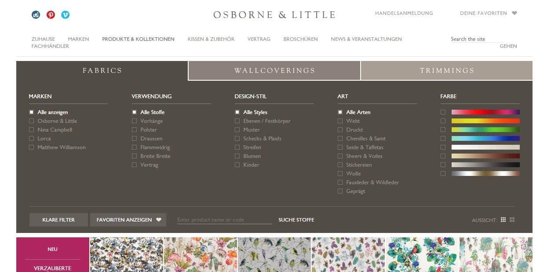 Homepage Dekostoffe kaufen von Osborne and Little