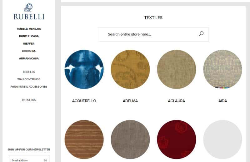 Homepage Dekostoffe kaufen von Rubelli Venezia