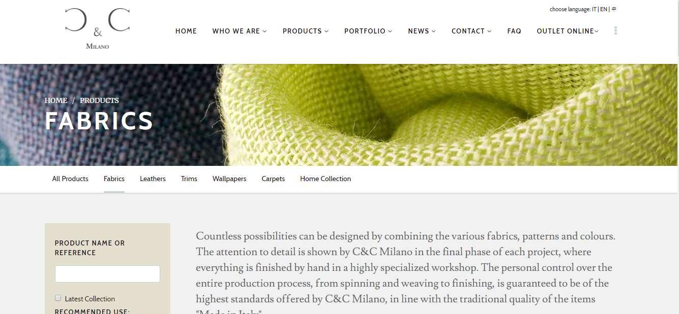 Homepage Dekostoffe kaufen von CC Milano