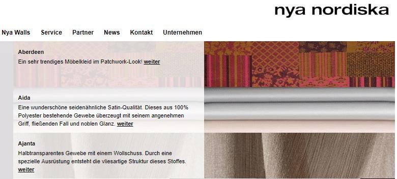 Homepage Dekostoffe kaufen von Nya Nordiska