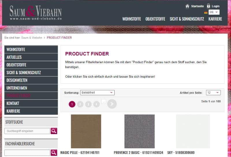 Homepage Dekostoffe kaufen von Saum Viebahn