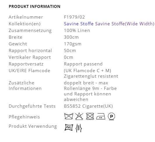 Designers Guild Dekostoff Savine Produktinformation