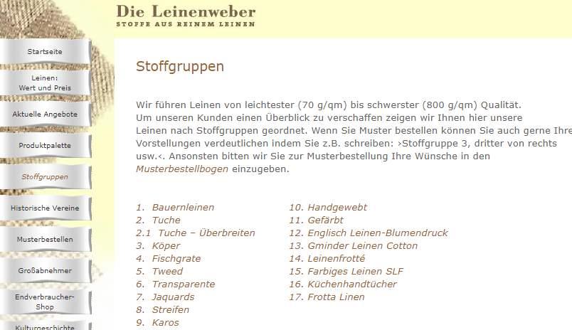 Homepage Dekostoffe von Die Leinenweber