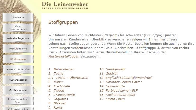 Homepage Dekostoffe kaufen Die Leinenweber
