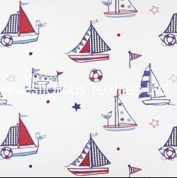 Kindergardinen Buben Stoff mit Schiffen von Prestigious