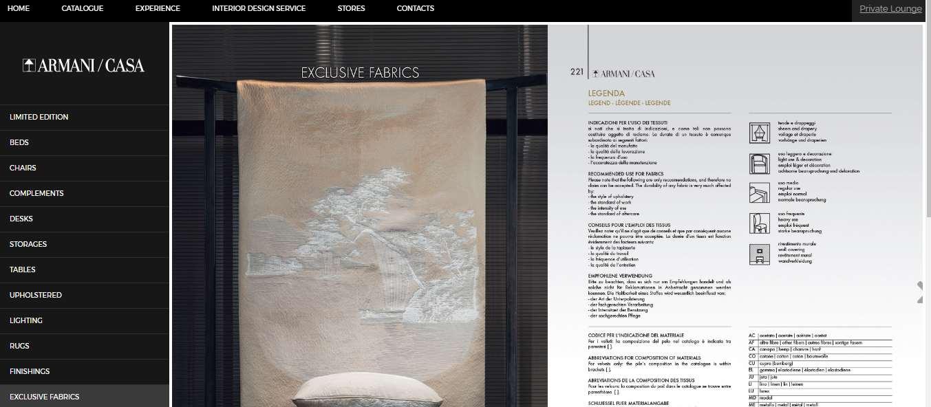 Homepage Dekostoffe kaufen von Armani Casa
