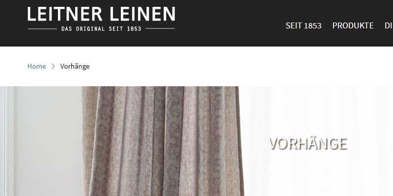 Homepage Dekostoffe kaufen von Leitner Leinen