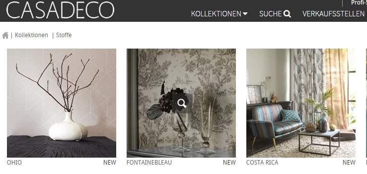 Homepage Dekostoffe von Casadeko