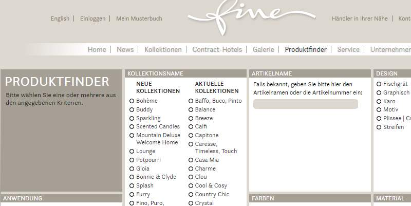 Homepage Dekostoffe von Fine