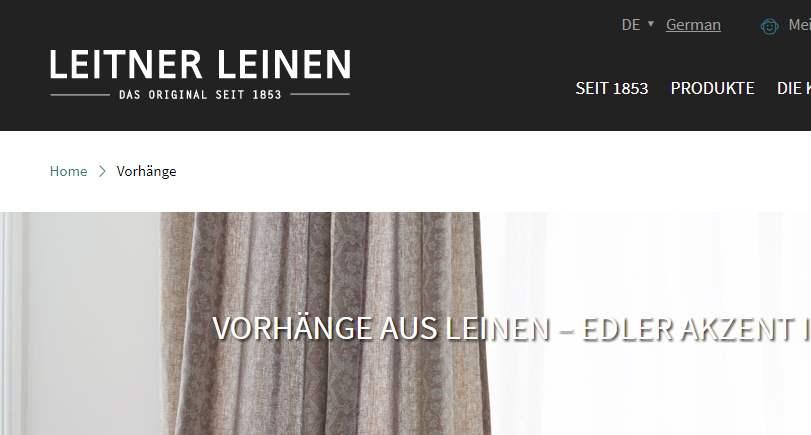 Homepage Dekostoffe von Leitner Leinen