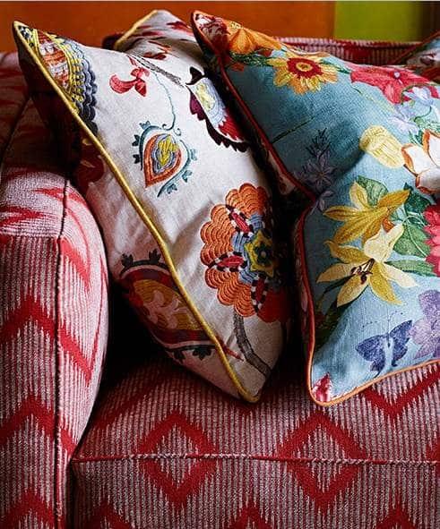 Vorhangstoff aus Mischgewebe mit Blumenmuster von Jane Churchill