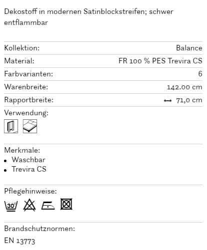 Vorhangstoff-Streifen-Balance-Balance-Fine Info