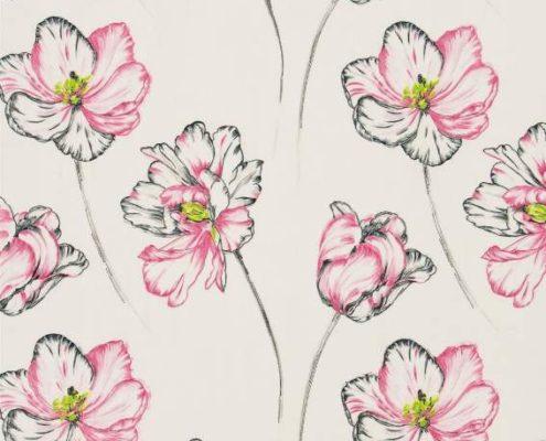 Vorhangstoff mit Blumenmuster
