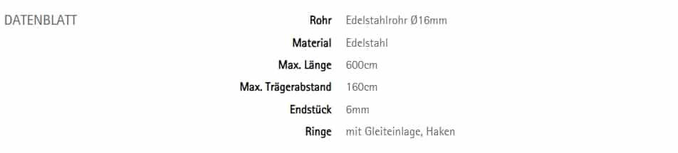 Vorhangstangen Edelstahl rund 16 Interstil Torero-poco 77 Datenblatt