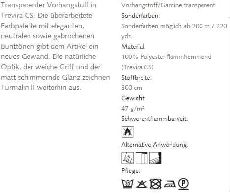 Gardinenstoffe Uni Creation Baumann Turmalin II Info