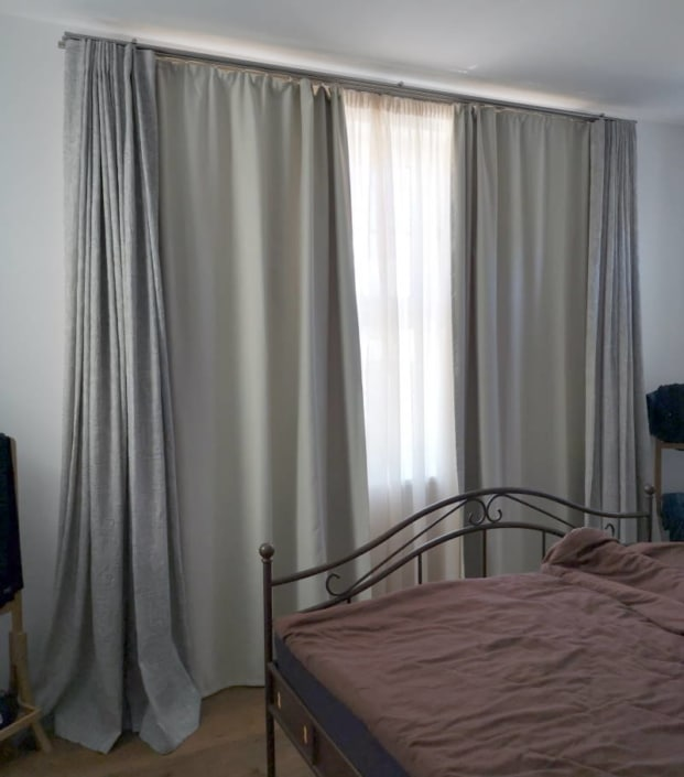 Vorhänge New England Haus Schlafzimmer nachher 2