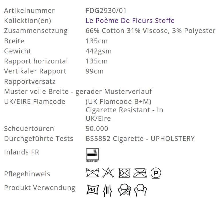 Bezugsstoff-Blumen-Fleur de Niut Noir Designers-Guild Info