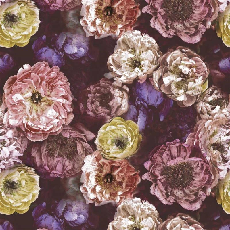 Bezugsstoff-Blumen-Le poeme de Fleurs rosewood Designers-Guild