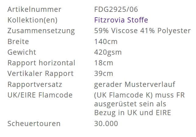 Bezugsstoff-gemustert-Fitzrovia Ochre Designers-Guild Info