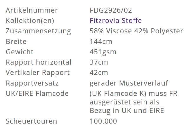 Bezugsstoff-gemustert-Maurier Ochre Designers-Guild Info