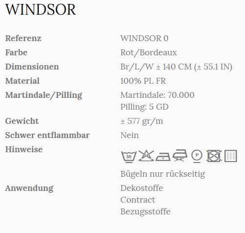 Vorhangstoff Uni Windsor 0 Wind Info