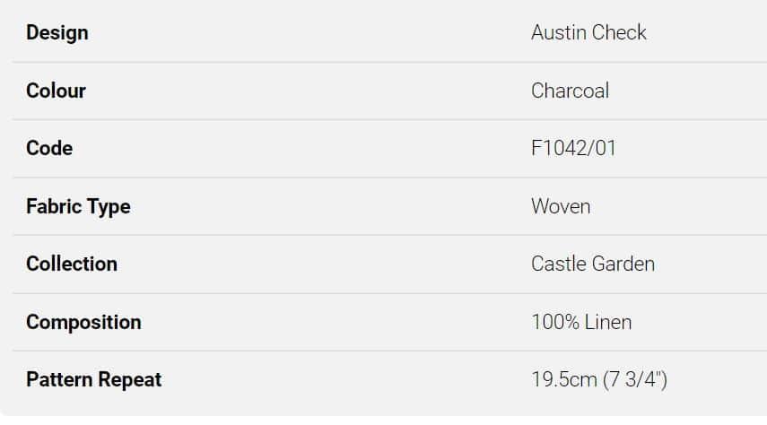 Bezugsstoff-kariert-Austin Check Charcoal F1042 Clarke-Clarke Info