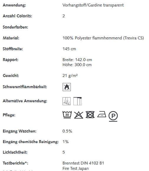 Gardinenstoffe Blumenmuster Creation Baumann PAPILLON VOILE Info