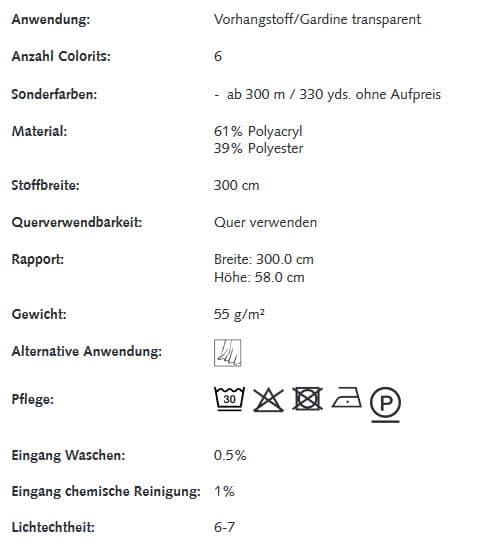 Gardinenstoffe gemustert Creation Baumann Cosmo Info