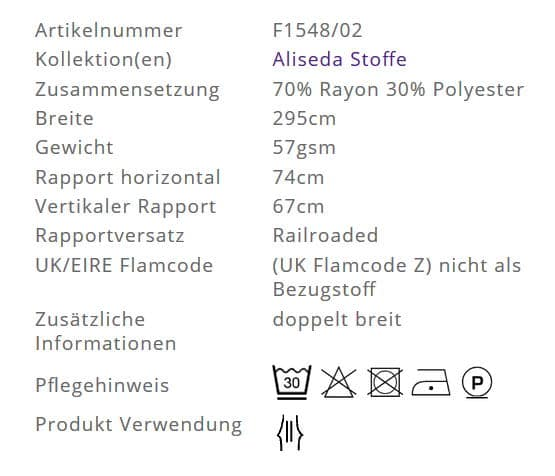 Gardinenstoff Blumenmuster Designers Guild Aliseda F1548-02 Info