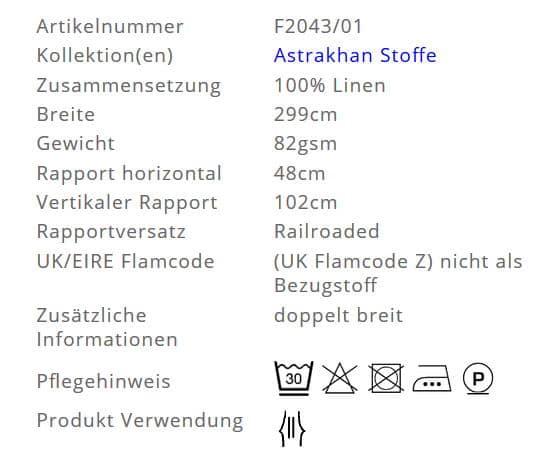 Gardinenstoff Blumenmuster Designers Guild Byzantium F2043-01 Info