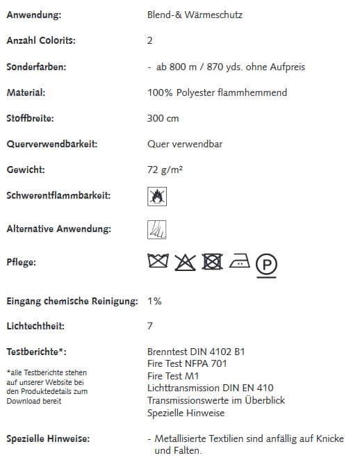 Gardinenstoffe Wärmeschutz Blendschutz ALU BASE Creation Baumann 0101235 Info