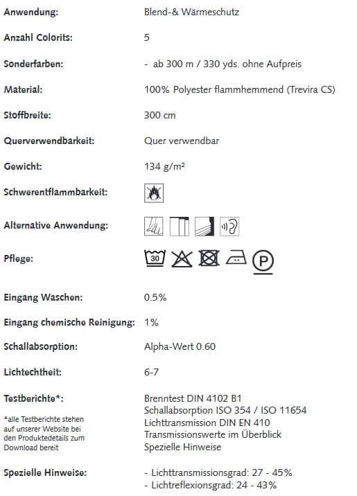 Gardinenstoffe Wärmeschutz Blendschutz Reflectacoustic Creation Baumann 0101305 Info