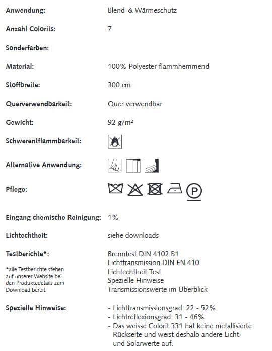 Gardinenstoffe Wärmeschutz Blendschutz SHINE PLUS Creation Baumann 0101350 Info