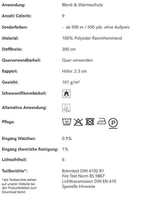 Gardinenstoffe Wärmeschutz Blendschutz STEEL BLOCK Creation Baumann 0100200 Info