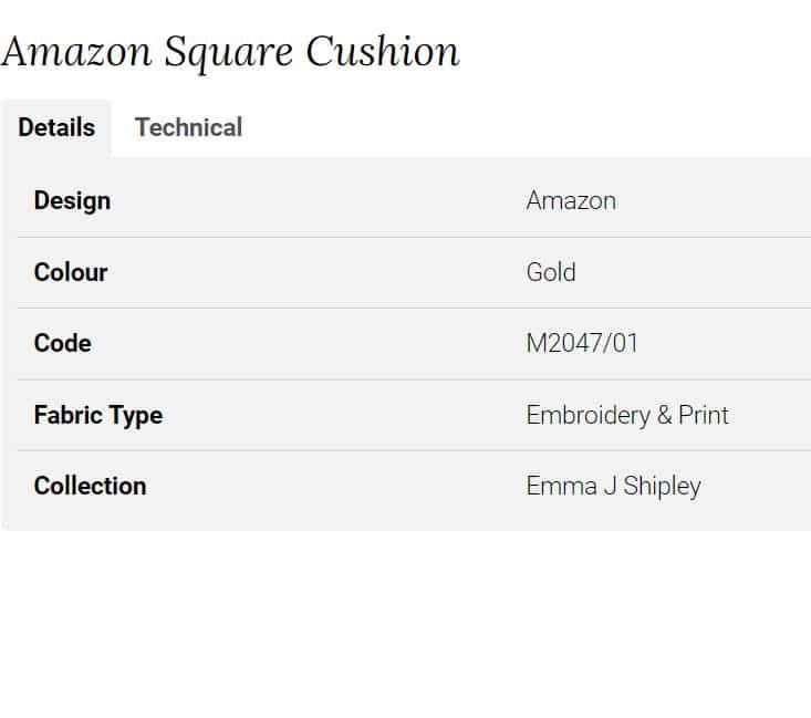 Clarke Clarke Amazon Square Cushion M2047-01 Info