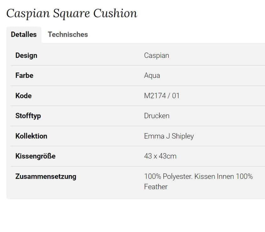 Clarke Clarke Caspian Square Cushion grün M2174-01 Info