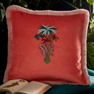 Clarke Clarke Jungle Palms Square Cushion orange M2050-01