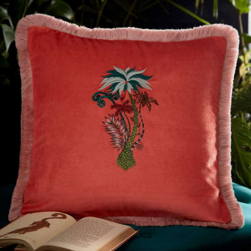 Clarke Clarke Jungle Palms Square Cushion orange M2050-01