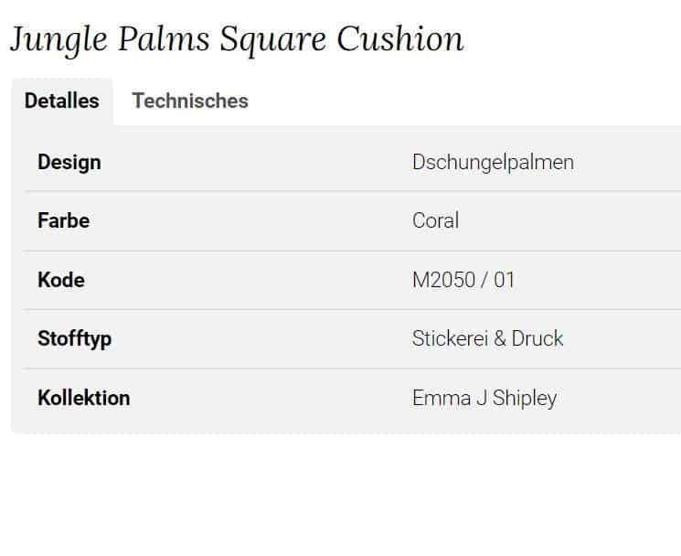 Clarke Clarke Jungle Palms Square Cushion orange M2050-01 Info