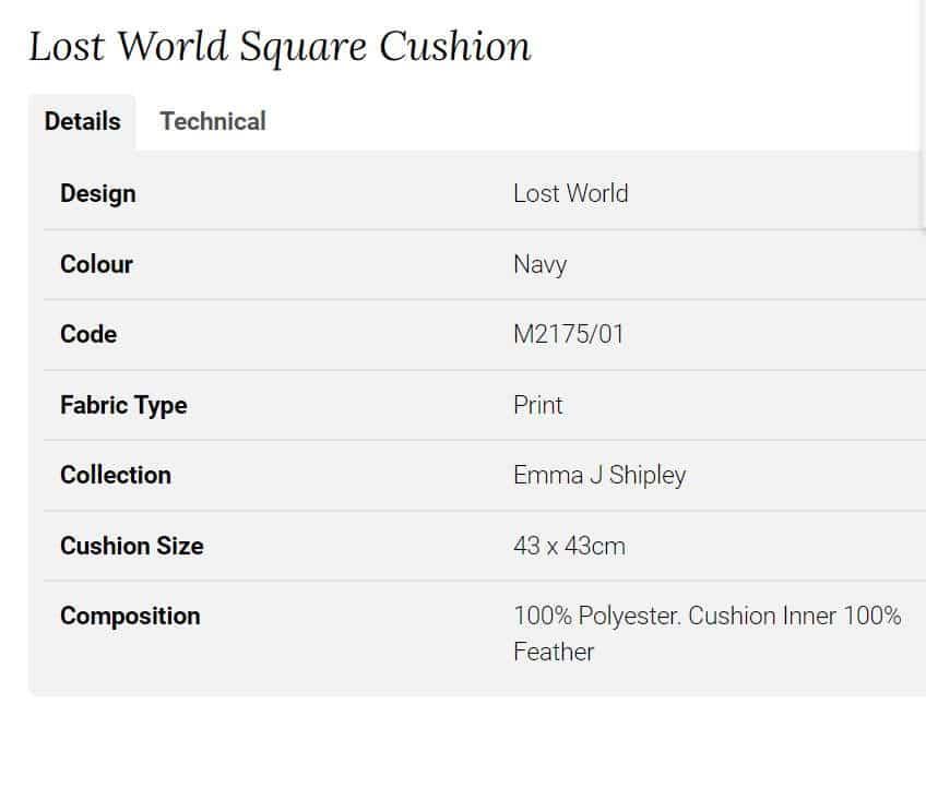 Clarke Clarke Lost World Square Cushion blau M2175-01 Info