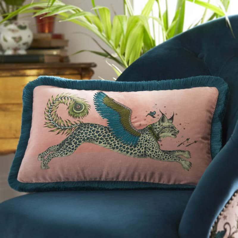 Clarke Clarke Lynx Pink Boudoir Cushion rosa M2176-02