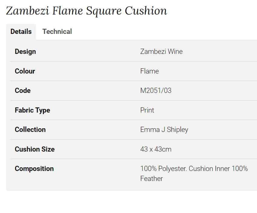 Clarke Clarke Zambezi Flame Square Cushion rosa M2051-03 Info