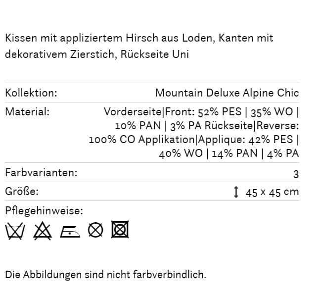 Hirschkissen Weidmann braun 140 Info