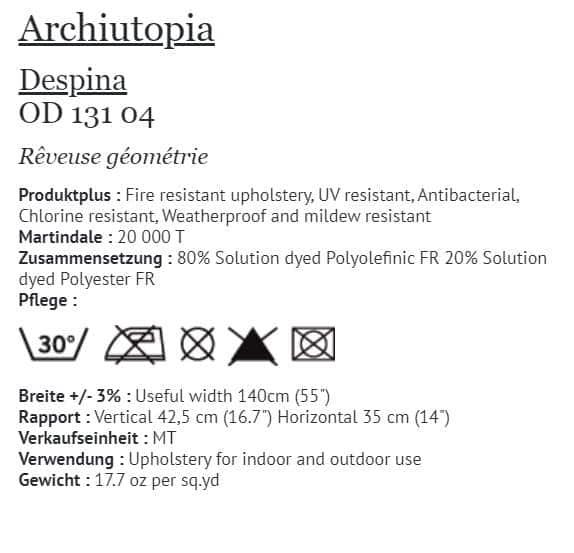 Bezugsstoff Outdoor Elitis - Archiutopia Despina OD131-04 Info