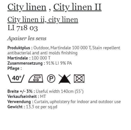 Bezugsstoff Outdoor Elitis - City Linen Info