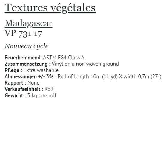 Tapete Elitis Textures Vegetales Madagascar VP 731-17 Info